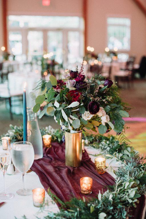 Whimsical, fall, autumn, jewel tones, gardeny, greenery, purples, blues, organic, wedding, sweetheart table, bridal bouquet.