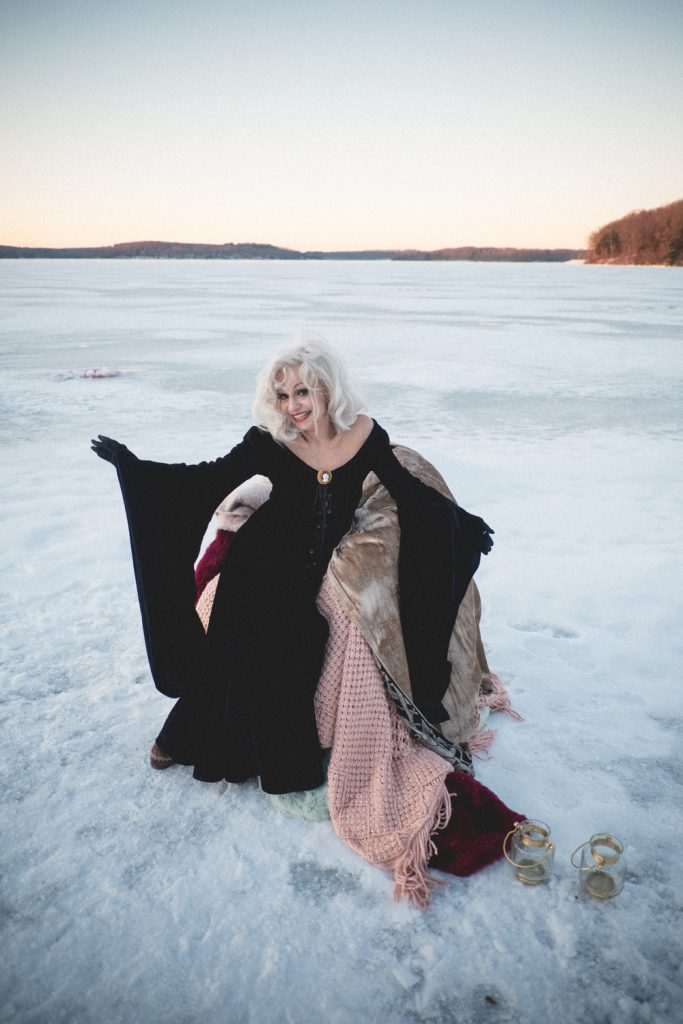 Ice wedding, ice dinner, tule bridal skirt, blush, burgundy, brown, dried florals, winter, frozen lake, styled shoot, ice portraits.