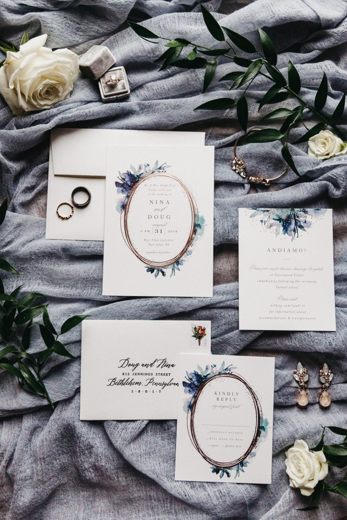 Summer wedding, warm, historic, personal, polished, clean, shades of blue, white, cream, roses, italian ruscus, details, invitations.