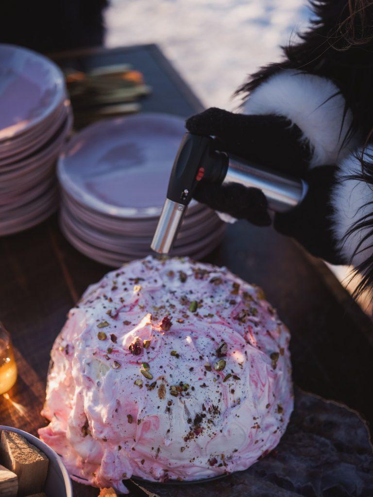 Ice wedding, ice dinner, tule bridal skirt, blush, burgundy, brown, dried florals, winter, frozen lake, styled shoot, desserts.