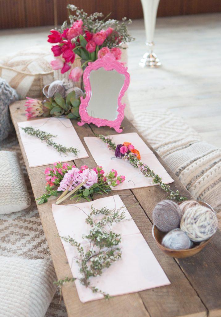 Bridal Shower Styled Shoot, flower crowns, flower necklace, pink, purple, organce, spring florals, summer florals.