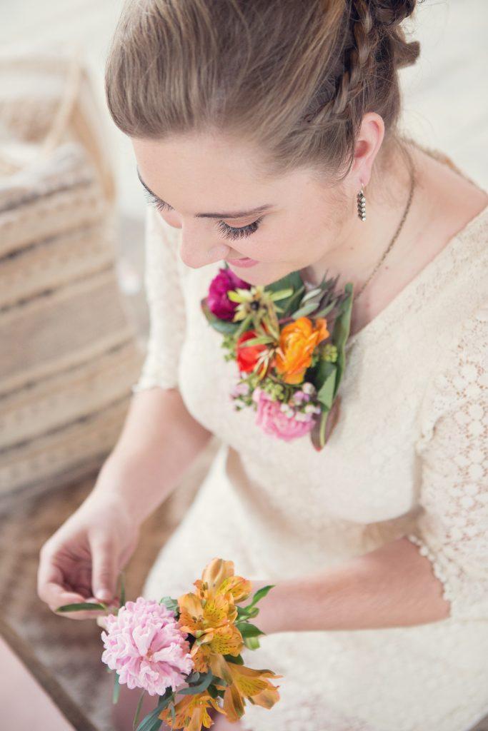 Bridal Shower Styled Shoot, flower crowns, flower necklace, pink, purple, organge, spring florals, summer florals.