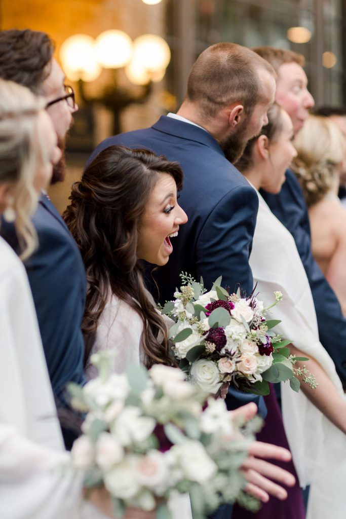 grey-green, plum, cream and a hint of blush, traditional, modern, winter wedding, roses, spray roses, ranunculus, bride and bridesmaids, bouquets.