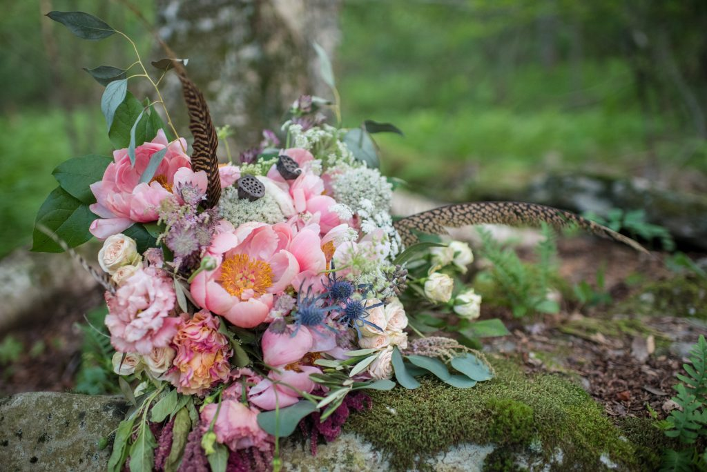 Magical, Whimsical, Woodland Wedding, summer wedding, burgundy, apricot, coral (peony), neutrals, greenery, creams, subtle blush, pheasant feathers, peonies, allium, wild, organic, florals, bridal bouquet.
