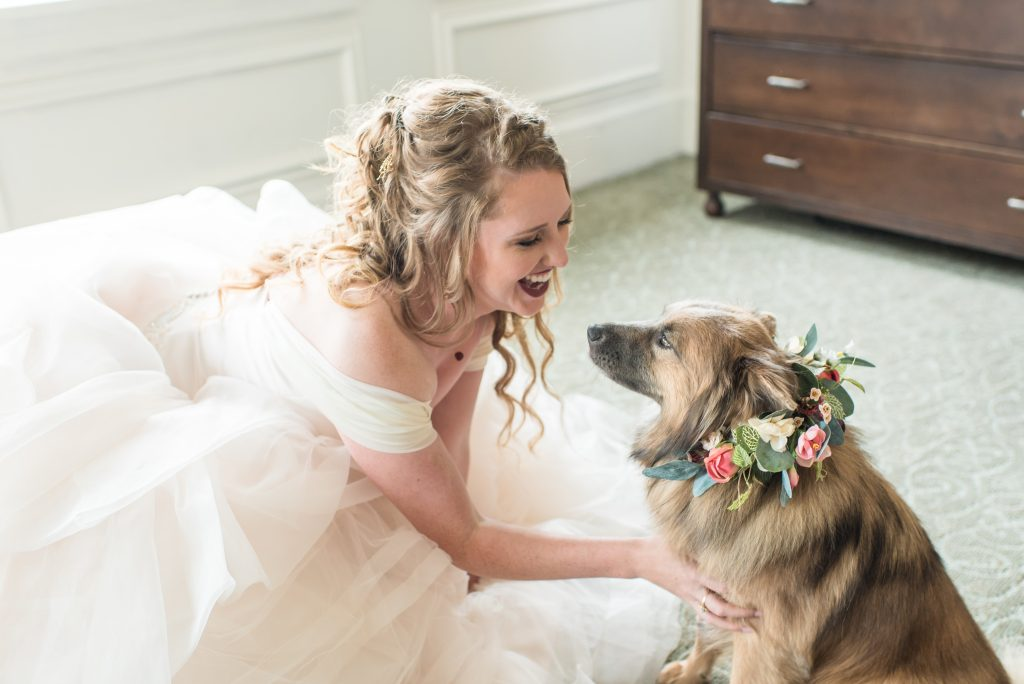 Magical, Whimsical, Woodland Wedding, summer wedding, burgundy, apricot, coral (peony), neutrals, greenery, creams, subtle blush, pheasant feathers, peonies, allium, wild, organic, florals, bride and dog, floral dog collar.