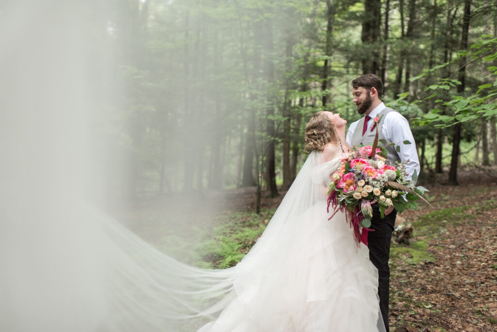 Magical, Whimsical, Woodland Wedding, summer wedding, burgundy, apricot, coral (peony), neutrals, greenery, creams, subtle blush, pheasant feathers, peonies, allium, wild, organic, florals, bride and groom.