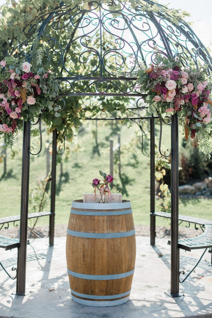 floral, boho, colorful, anthropologie-esque, marsala, pink, green, cream, gold, hint of raspberry, ceremony, iron gazebo.