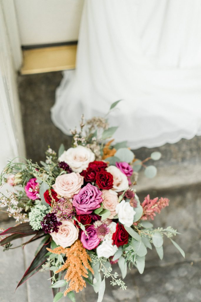 floral, boho, colorful, anthropologie-esque, marsala, pink, green, cream, gold, hint of raspberry, bridal bouquet.