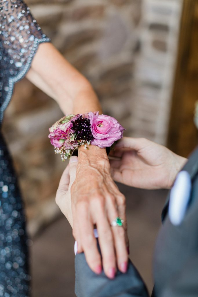 floral, boho, colorful, anthropologie-esque, marsala, pink, green, cream, gold, hint of raspberry, wrist corsage.