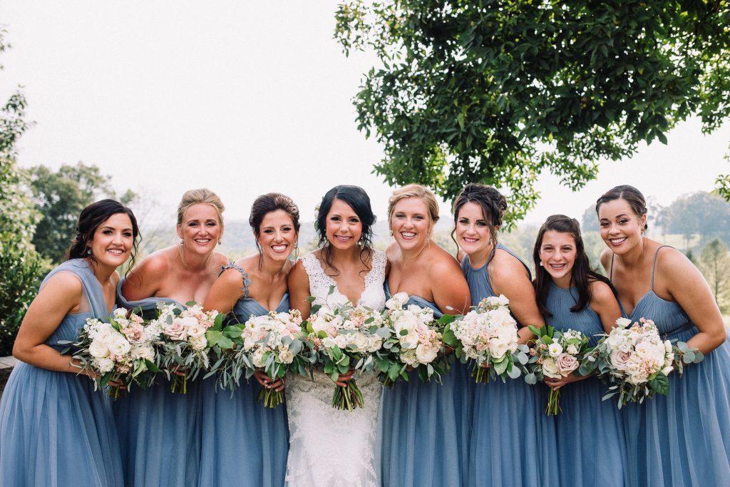 whimsical, boho, enchanted, secret garden, summer wedding, cream, blush, greenery florals, bride and bridesmaids.