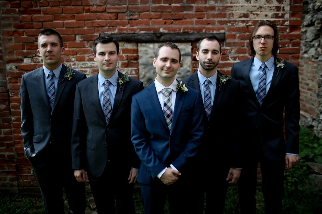 warm, loving, striking and fashionable, artistic, fall wedding, navy, slate bluish, pewter, blush, cream, greenery, texture, botanical, asymmetrical, groom and groomsmen.