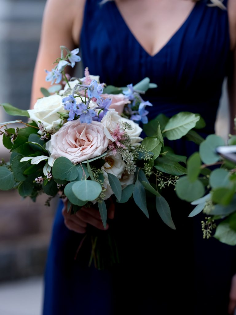 warm, loving, striking and fashionable, artistic, fall wedding, navy, slate bluish, pewter, blush, cream, greenery, texture, botanical, asymmetrical, bridesmaid bouquet.