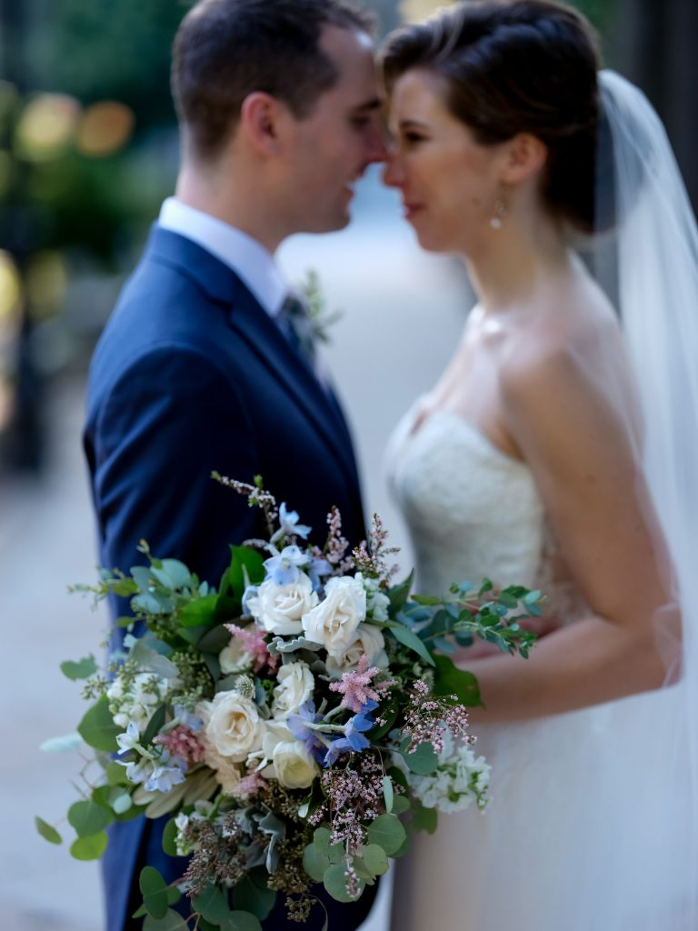 warm, loving, striking and fashionable, artistic, fall wedding, navy, slate bluish, pewter, blush, cream, greenery, texture, botanical, asymmetrical, bride and groom.