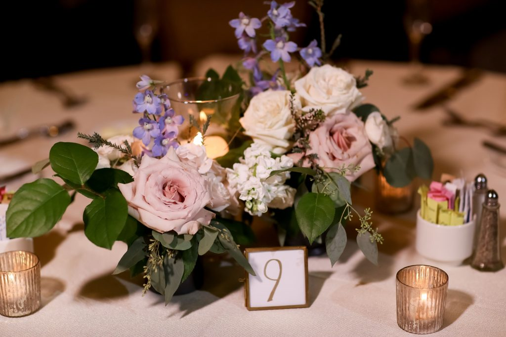 warm, loving, striking and fashionable, artistic, fall wedding, navy, slate bluish, pewter, blush, cream, greenery, texture, botanical, asymmetrical, reception, centerpiece arrangement, ballroom.