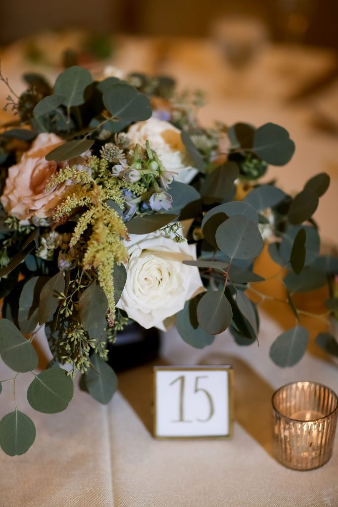warm, loving, striking and fashionable, artistic, fall wedding, navy, slate bluish, pewter, blush, cream, greenery, texture, botanical, asymmetrical, reception, centerpiece.