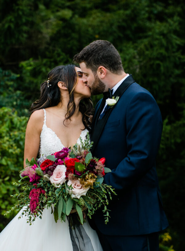 Ethereal, romantic, woodland, burgundy, blush, plum, organic florals, bride and groom.