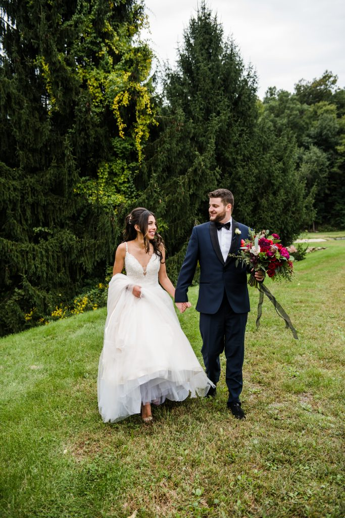 Ethereal, romantic, woodland, burgundy, blush, plum, organic florals, bride and groom.