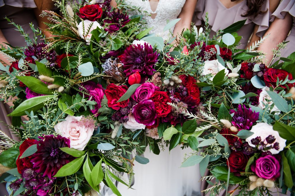 Ethereal, romantic, woodland, burgundy, blush, plum, organic florals, bride and bridesmaids.