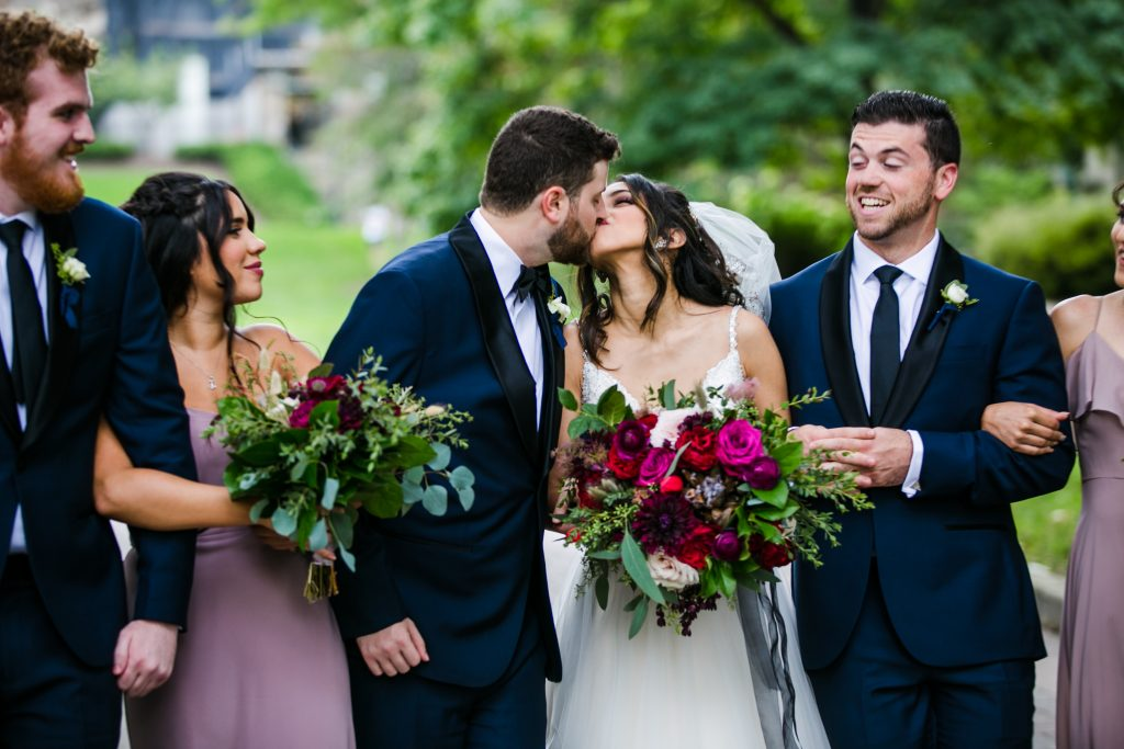 Ethereal, romantic, woodland, burgundy, blush, plum, organic florals, bridal party.
