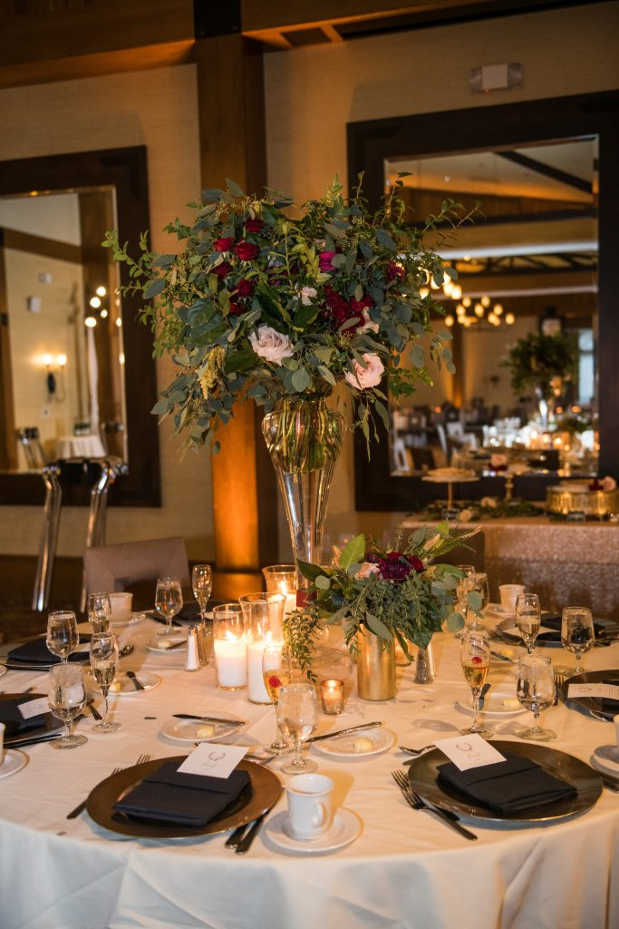 Ethereal, romantic, woodland, burgundy, blush, plum, organic florals, centerpiece.