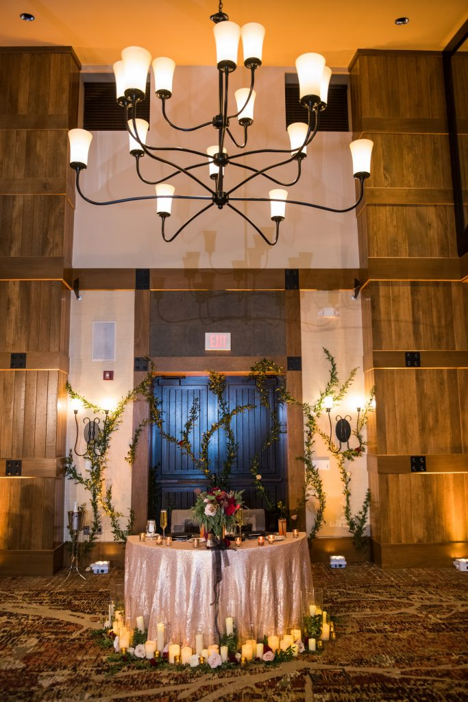 Ethereal, romantic, woodland, burgundy, blush, plum, organic florals, sweetheart table.