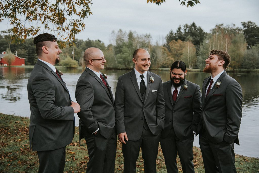 Rustic, country, burgundy, white, burlap, beige, roses, dahlias, spray roses, groomsmen.