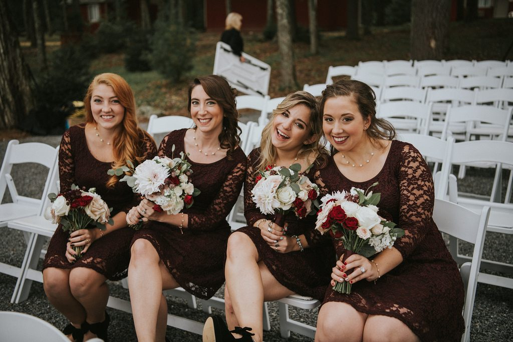 Rustic, country, burgundy, white, burlap, beige, roses, dahlias, spray roses, bridesmaids.