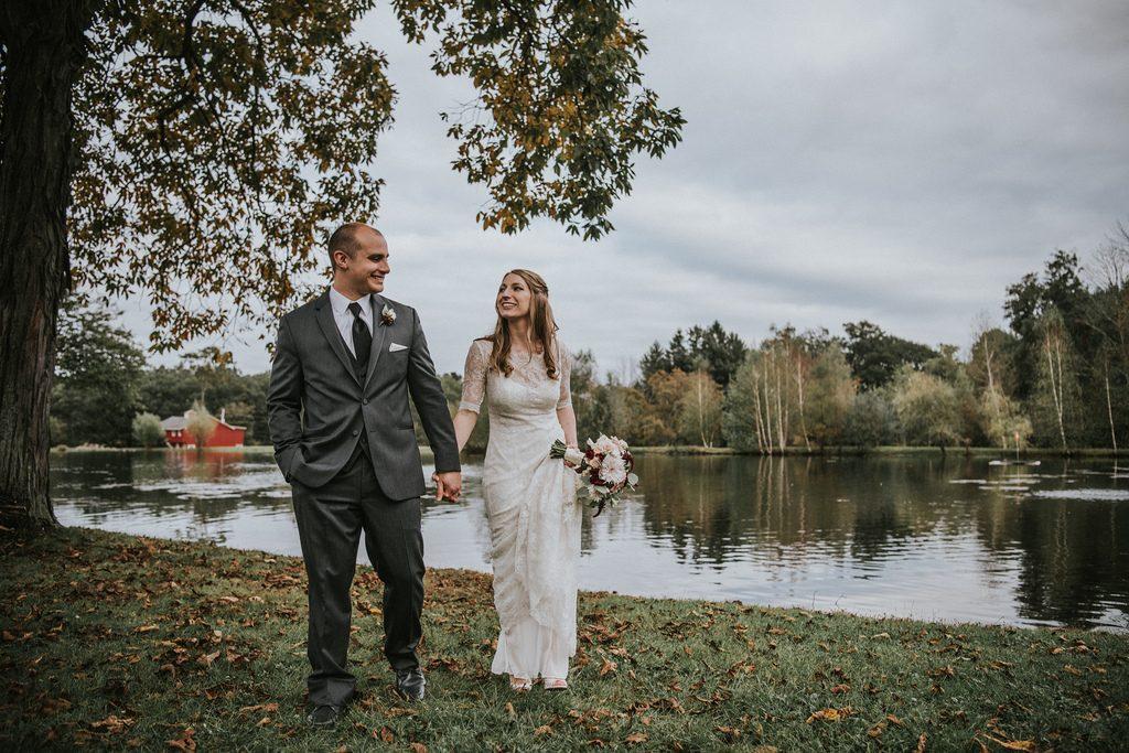 Rustic, country, burgundy, white, burlap, beige, roses, dahlias, spray roses, bride and groom.