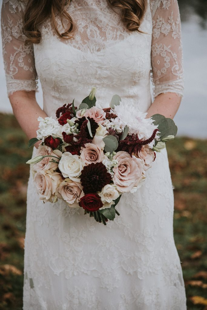 Rustic, country, burgundy, white, burlap, beige, roses, dahlias, spray roses, bride and groom.