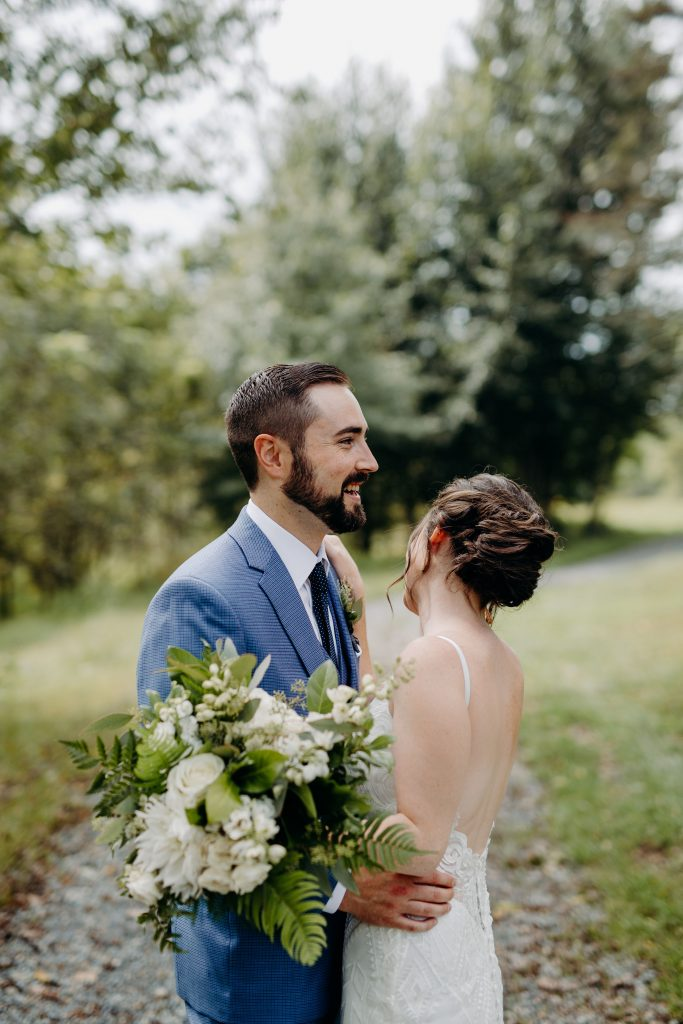 Summer wedding, fun, party of the summer, greens, ferns, forest greens, rose gold, copper, cream, bride and groom.