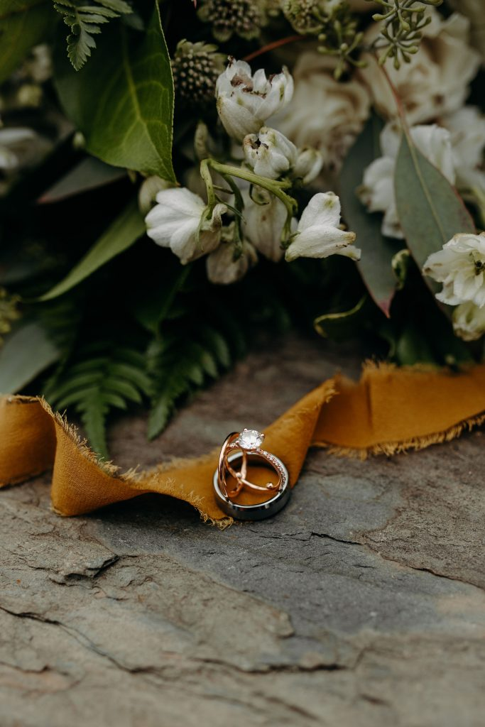 Summer wedding, fun, party of the summer, greens, ferns, forest greens, rose gold, copper, cream, rings.