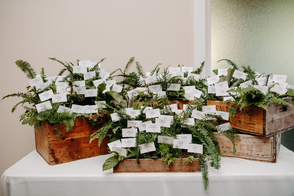 Summer wedding, fun, party of the summer, greens, ferns, forest greens, rose gold, copper, cream, vintage boxes, escort cards.