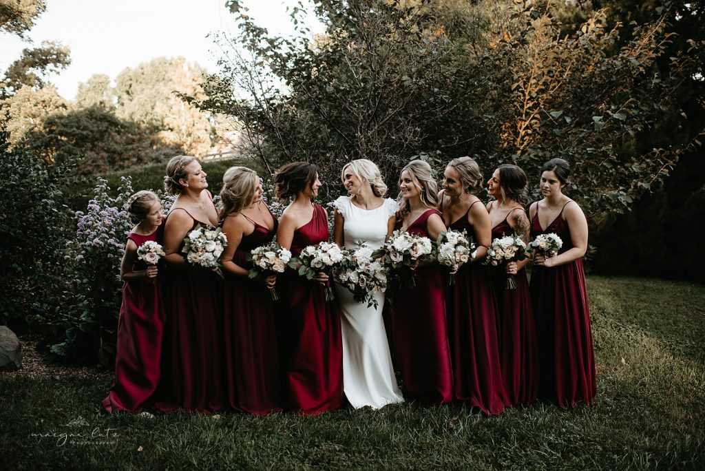 Lehigh Valley Wedding, wedding, fall wedding, delicate, perfection, romantic, ethereal, greens, whimsical, burgundy, navy, blush, cream, peach, elegant, garden, bride and bridesmaids.