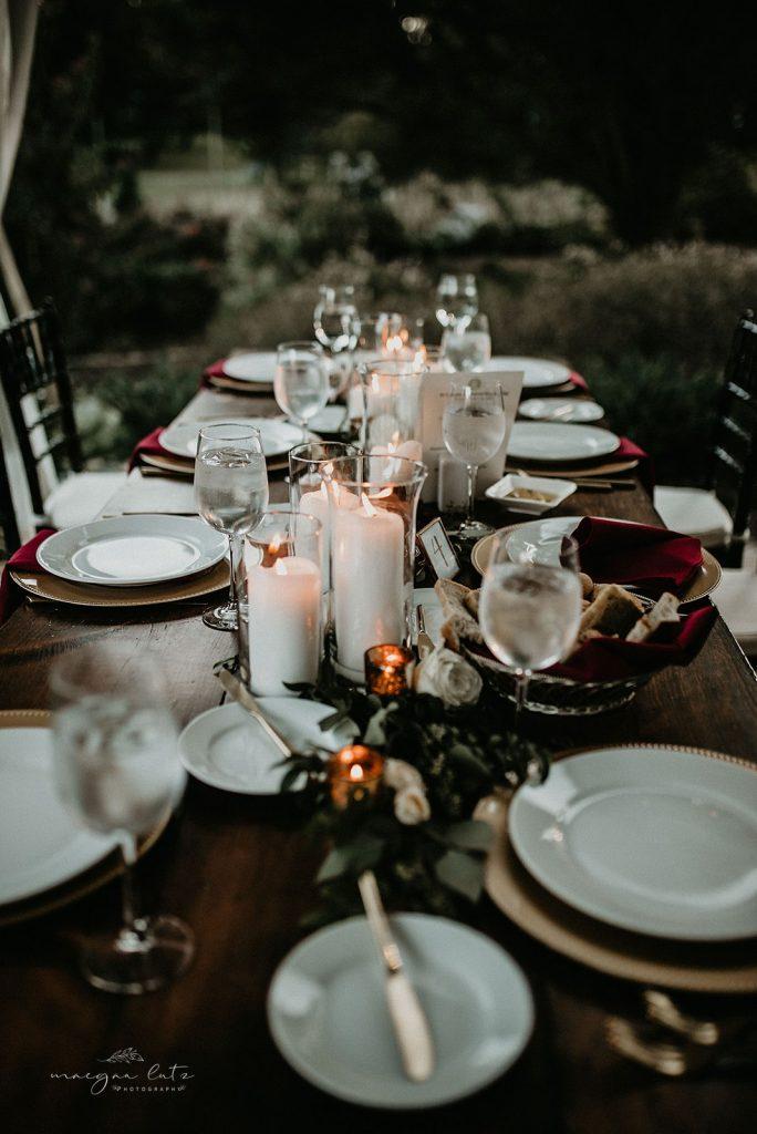 Lehigh Valley Wedding, wedding, fall wedding, delicate, perfection, romantic, ethereal, greens, whimsical, burgundy, navy, blush, cream, peach, elegant, garden, farm table, candles, greenery.
