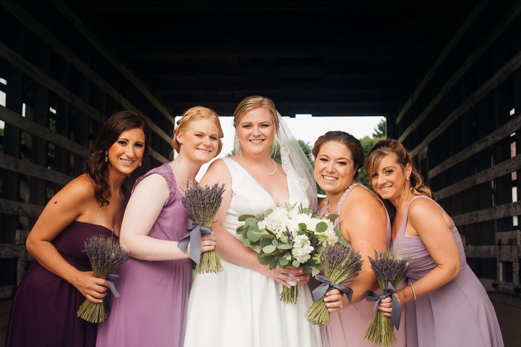 Fall wedding, lehigh valley wedding, golf course wedding, rustic barn, lavender, wheat, casual, laid back, floral details, bride and bridesmaids.