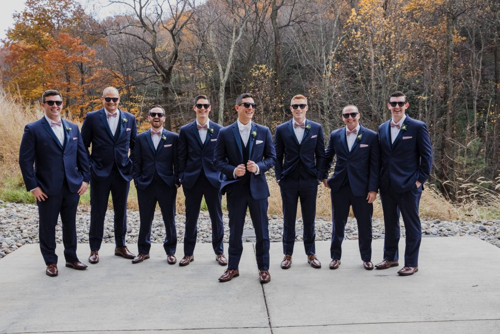 Rustic but elegant wedding, mauve, navy, blush, green, cream, lavender, florals, organic, groom and groomsmen.