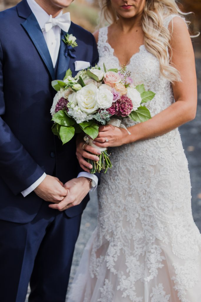 Rustic but elegant wedding, mauve, navy, blush, green, cream, lavender, florals, organic, bride and groom.