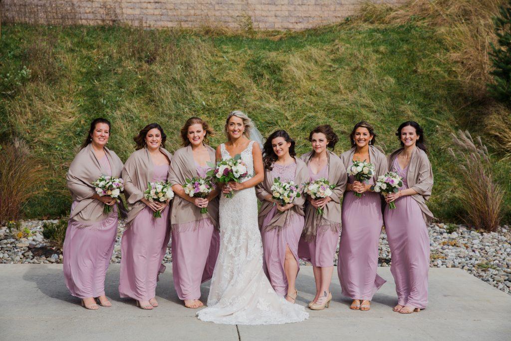 Rustic but elegant wedding, mauve, navy, blush, green, cream, lavendar, florals, organic, bride and bridesmaids.