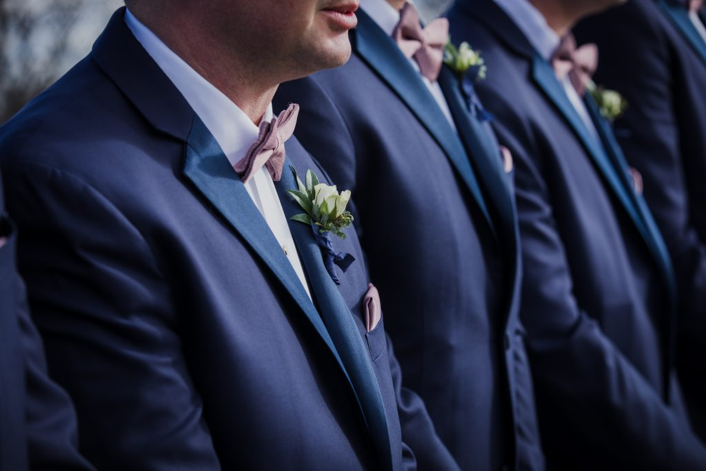 Rustic but elegant wedding, mauve, navy, blush, green, cream, lavender, florals, organic, groomsmen.