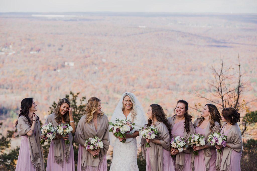 Rustic but elegant wedding, mauve, navy, blush, green, cream, lavender, florals, organic, bride and bridesmaids.
