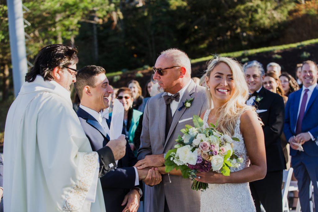 Rustic but elegant wedding, mauve, navy, blush, green, cream, lavender, florals, organic, bride and groom, ceremony.