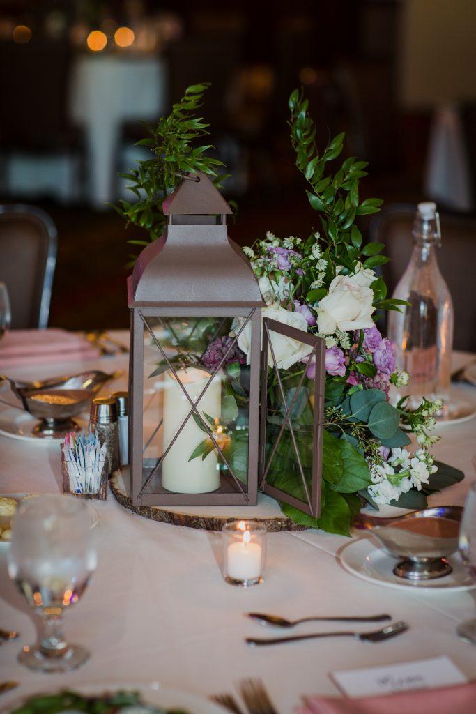Rustic but elegant wedding, mauve, navy, blush, green, cream, lavender, florals, organic, lanterns, centerpieces.