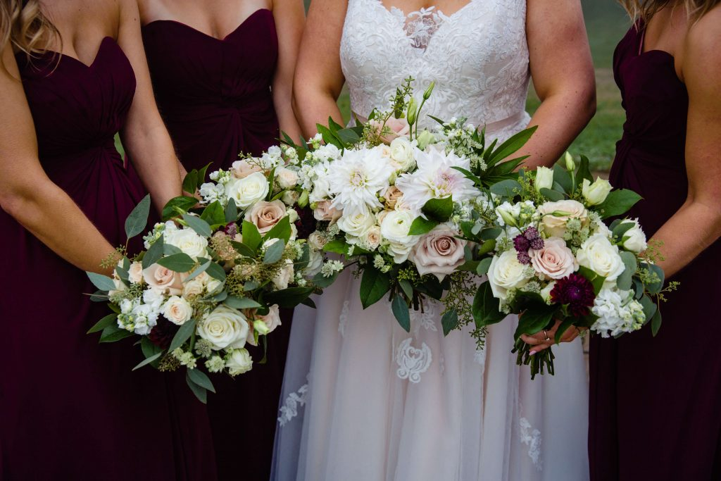 Lehigh Valley wedding, lehigh valley florist, romantic, simple, wine, burgundy, blush, cream, fall wedding, white and blush, bride and bridesmaids.
