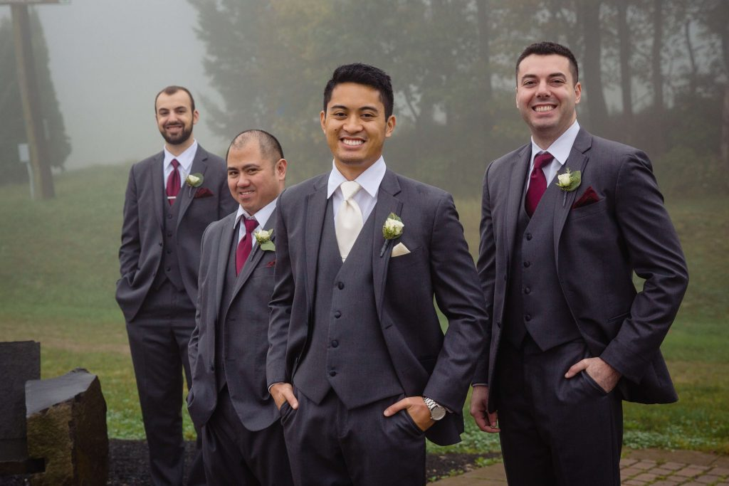 Lehigh Valley wedding, lehigh valley florist, romantic, simple, wine, burgundy, blush, cream, fall wedding, white and blush, groom and groomsmen.
