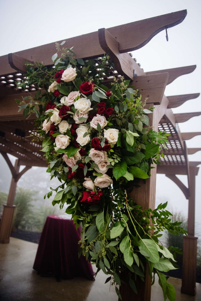 Lehigh Valley wedding, lehigh valley florist, romantic, simple, wine, burgundy, blush, cream, fall wedding, white and blush, ceremony.