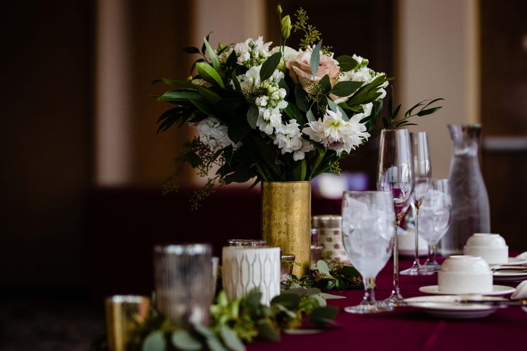 Lehigh Valley wedding, lehigh valley florist, romantic, simple, wine, burgundy, blush, cream, fall wedding, white and blush, reception.